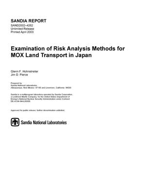 Primary view of object titled 'Examination of Risk Analysis Methods for MOX Land Transport in Japan'.