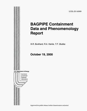 Primary view of object titled 'BAGPIPE Containment Data and Phenomenology Report'.