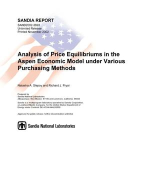 Primary view of object titled 'Analysis of Price Equilibriums in the Aspen Economic Model under Various Purchasing Methods'.