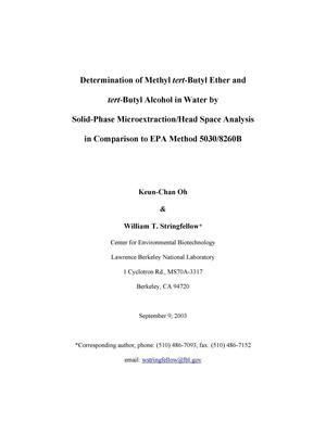 Primary view of object titled 'Determination of Methyl tert-Butyl Ether and tert-Butyl Alcohol in Water by Solid-Phase Microextraction/Head Space Analysis in Comparison to EPA Method 5030/8260B'.