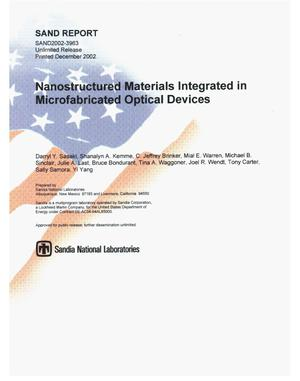 Primary view of object titled 'Nanostructured Materials Integrated in Microfabricated Optical Devices'.