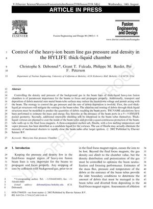 Primary view of object titled 'Control of the heavy-ion beam line gas pressure and density in the HYLIFE thick-liquid chamber'.