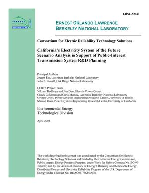 Primary view of object titled 'California's electricity system of the future scenario analysis in support of public-interest transmission system R&D planning'.