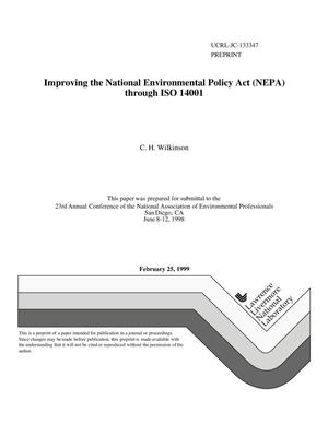 Primary view of object titled 'Improving (NEPA) the National Environmental Policy Act through ISO 14001'.