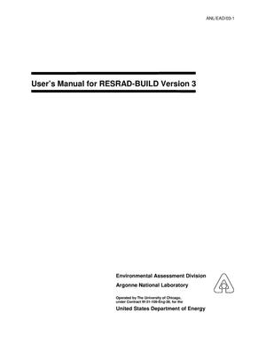 Primary view of object titled 'User's manual for RESRAD-BUILD version 3.'.