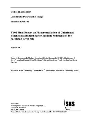 Primary view of object titled 'FY02 Final Report on Phytoremediation of Chlorinated Ethenes in Southern Sector Sediments of the Savannah River Site'.