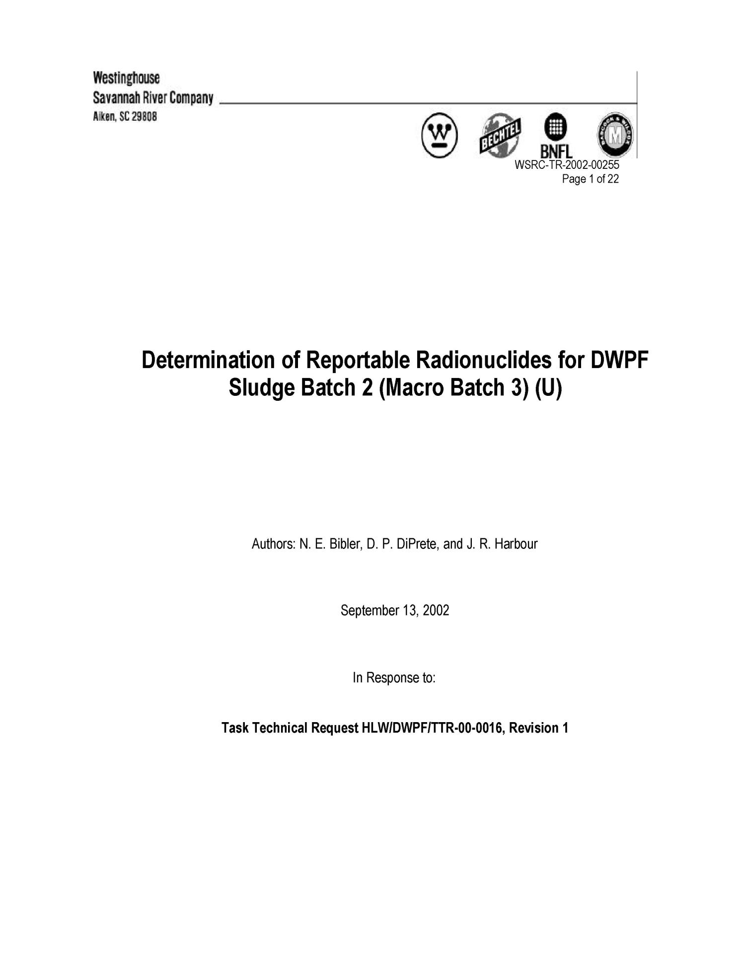 Determination of Reportable Radionuclides for DWPF Sludge Batch 2 (Macro Batch 3)                                                                                                      [Sequence #]: 1 of 22