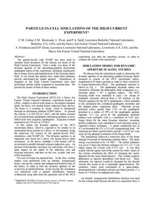 Primary view of object titled 'Particle-in-cell simulations of the high current experiment'.