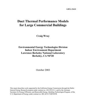 Primary view of object titled 'Duct thermal performance models for large commercial buildings'.