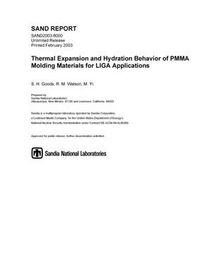 Primary view of object titled 'Thermal Expansion and Hydration Behavior of PMMA Moulding Materials for LIGA Applications'.
