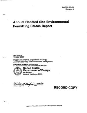 Primary view of object titled 'Annual Hanford Site Environmental Permitting Status Report'.