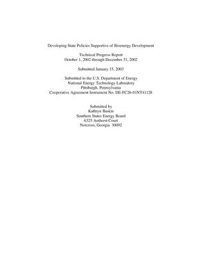 Primary view of object titled 'DEVELOPING STATE POLICIES SUPPORTIVE OF BIOENERGY DEVELOPMENT'.