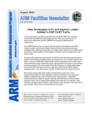 Primary view of object titled 'Atmospheric Radiation Measurement Program facilities newsletter, August 2003.'.