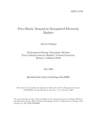 Primary view of object titled 'Price-elastic demand in deregulated electricity markets'.