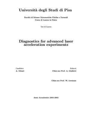 Primary view of object titled 'Diagnostics for advanced laser acceleration experiments'.