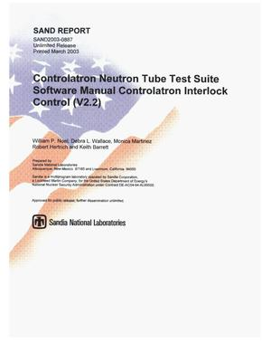 Primary view of object titled 'Controlatron Neutron Tube Test Suite Software Manual Controlatron Interlock Control (V2.2)'.