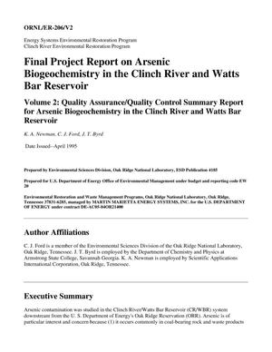 Primary view of object titled 'Final Project Report on Arsenic Biogeochemistry in the Clinch River and Watts Bar Reservoir, Volume 2: Quality Assurance/Quality Control Summary Report for Arsenic Biogeochemistry in the Clinch River and Watts Bar Reservoir'.