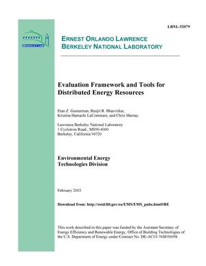 Primary view of object titled 'Evaluation Framework and Tools for Distributed Energy Resources'.