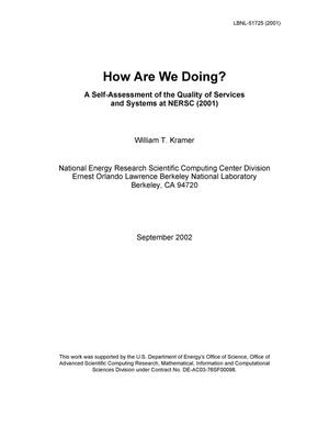 Primary view of object titled 'How are we doing? A self-assessment of the quality of services and systems at NERSC (2001)'.
