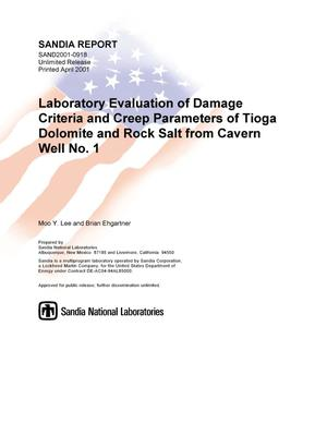 Primary view of object titled 'Laboratory Evaluation of Damage Criteria and Creep Parameters of Tioga Dolomite and Rock Salt from Cavern Well No. 1'.
