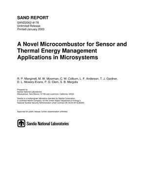 Primary view of object titled 'A Novel Microcombustor for Sensor and Thermal Energy Management Applications in Microsystems'.