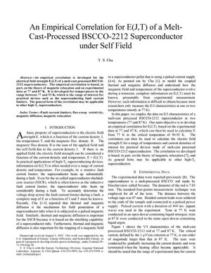 Primary view of object titled 'An empirical correlation for E(J,T) of a melt-cast-processed BSCCO-2212 superconductor under self field.'.