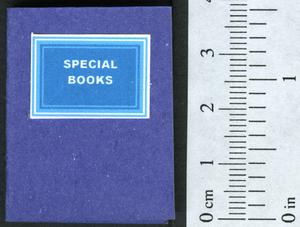 Primary view of object titled 'Special books : a description in verse, of the type of book I seek.'.
