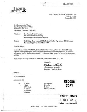 Primary view of object titled 'Federal Facility Agreement Annual Progress Report for Fiscal Year 1999 Oak Ridge, Tennessee'.