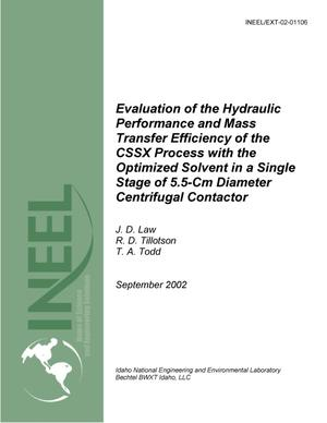 Primary view of object titled 'Evaluation of the Hydraulic Performance and Mass Transfer Efficiency of the CSSX Process with the Optimized Solvent in a Single Stage of 5.5-Cm Diameter Centrifugal Contactor'.