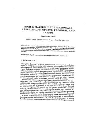 Primary view of object titled 'High-T{sub c} Materials for Microwave Applications: Update, Progress and Trends'.