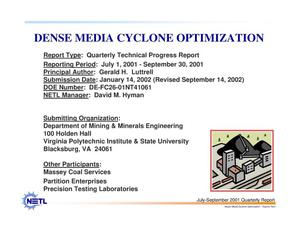 Primary view of object titled 'DENSE MEDIA CYCLONE OPTIMIZATION'.
