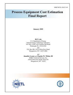 Primary view of object titled 'Process Equipment Cost Estimation, Final Report'.