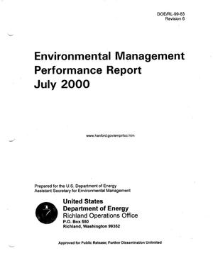 Primary view of object titled 'Environmental Management Performance Report July 2000'.