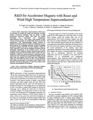 Primary view of object titled 'R AND D FOR ACCELERATOR MAGNETS WITH REACT AND WIND HIGH TEMPERATURE SUPERCONDUCTORS.'.