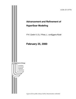 Primary view of object titled 'Advancement and Refinement of HyperSoar Modeling'.