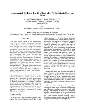Primary view of object titled 'Assessment of health benefits from controlling air pollution in Shanghai, China.'.