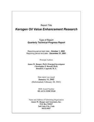 Primary view of object titled 'KEROGEN OIL VALUE ENHANCEMENT RESEARCH'.