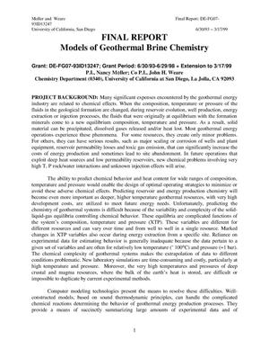 Primary view of object titled 'Models of Geothermal Brine Chemistry'.