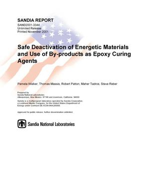 Primary view of object titled 'Safe Deactivation of Energetic Materials and Use of By-products as Epoxy Curing Agents'.