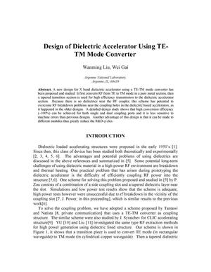 Primary view of object titled 'Design of dielectric accelerator using TE-TM mode converter.'.