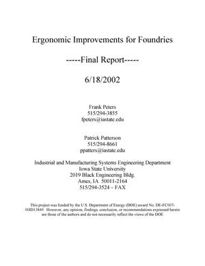 Primary view of object titled 'Ergonomic Improvements for Foundries'.