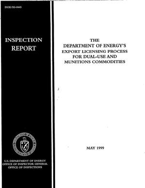 Primary view of object titled 'Inspection report: the Department of Energy's export licensing process for dual-use and munitions commodities'.