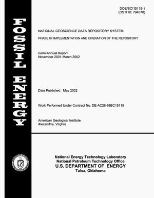 Primary view of object titled 'National Geoscience Data Repository System -- Phase III: Implementation and Operation of the Repository'.