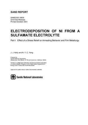 Primary view of object titled 'Electrodeposition on Ni from a Sulfamate Electrolyte Part 1: Effect of a Stress Relief on Annealing Behavior and Film Metallurgy'.