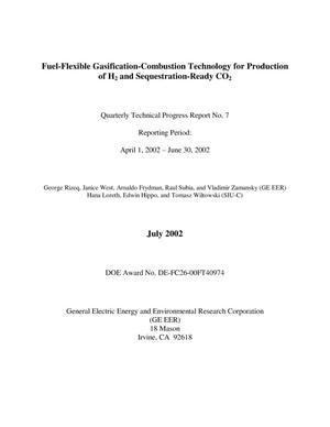 Primary view of object titled 'FUEL-FLEXIBLE GASIFICATION-COMBUSTION TECHNOLOGY FOR PRODUCTION OF H2 AND SEQUESTRATION-READY CO2'.