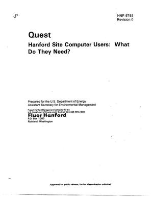 Primary view of object titled 'QUEST Hanford Site Computer Users - What do they do?'.