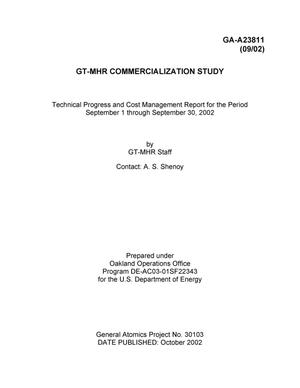 Primary view of object titled 'GT-MHR Commercialization Study Technical Progress and Cost Management Report for the Period Sept. 01-30, 2002'.