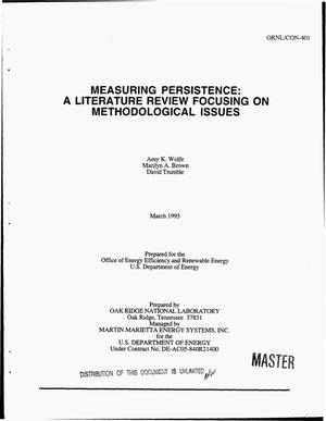 Primary view of object titled 'Measuring persistence: A literature review focusing on methodological issues'.