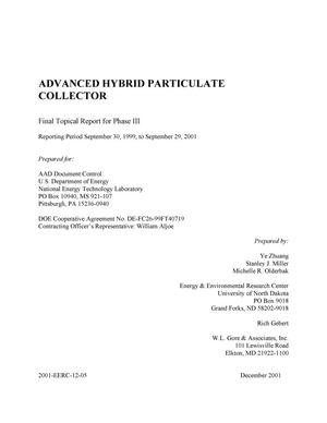 Primary view of object titled 'ADVANCED HYBRID PARTICULATE COLLECTOR'.