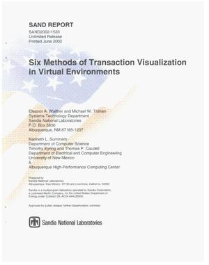 Primary view of object titled 'Six Methods of Transaction Visualization in Virtual Environments'.